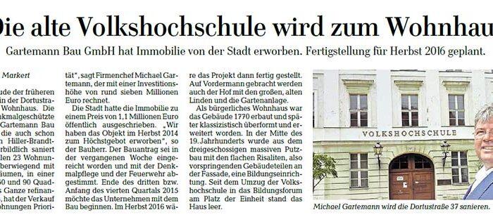Die alte Volkshochschule wird zum Wohnhaus